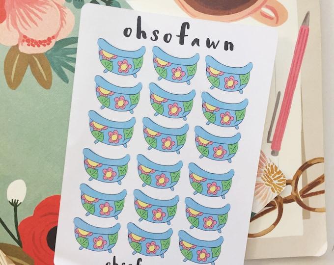 Hand Drawn Bath Tub Stickers
