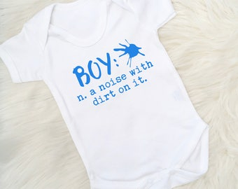 Fun Baby Vest, Boy n. a noise with dirt on it, Baby Boy, New baby gift, Baby Shower, Onesie, Bodysuit, Stocking Filler, Made in the UK