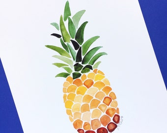 Pineapple watercolor and gouache art print   Wall Art   Fruit Art   Home Decor   Pineapple Painting   Nursery Art   Summer   Gift Idea