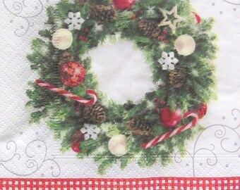Set of 3 pcs 3-ply ''Christmas wreath'' paper napkins for Decoupage or collectibles 25x25cm, Holiday napkins, Beverage napkins