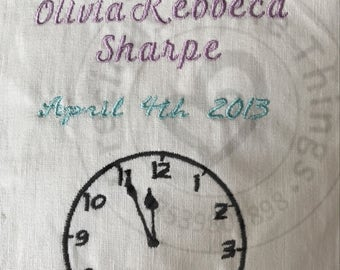 Personalised Birth Announcement - Embroidery Design
