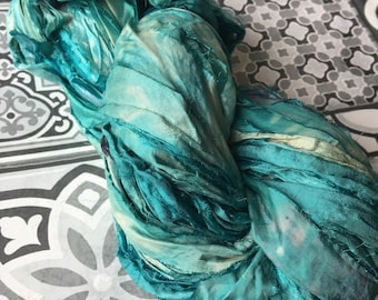 Turquoise - Hand Dyed Recycled Sari Silk - 100g