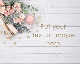 Styled Stock Photography / Wood Background / Rustic Flowers / Digital Background / White Wooden Background / Pink Flowers / StockStyle-827