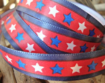 3 Yards - Patriotic Red White and Blue Star Ribbon
