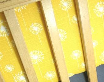 Unique Crib Set in Dandelions, Owls, Chevron. Yellow Purple Gray.  Bumpers, Sheet, Skirt  *Modern Crib Bedding*
