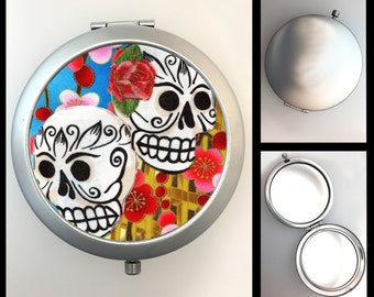 Compact Mirror Day of the Dead Sugar Skulls