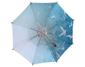 Sun Umbrella, Anti UV Sun Parasol. Elegant White Sunbella Kimberley, with Archipelago Blue design.  UPF50+. Blocks 98%+ UV rays. SK16B