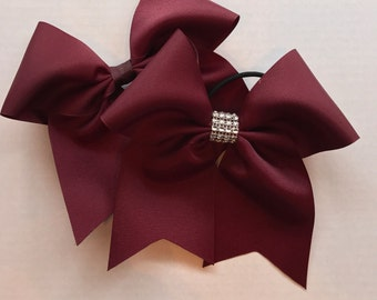 Burgundy Hair Bows/Softball Bows/Burgundy Softball Hair Bows/Burgundy Cheer Bows/Burgundy Soccer Bows/Burgundy Volleyball Bows/7 inch solid