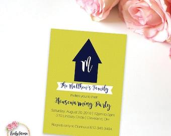 Monogram Housewarming Printable Invitation Family Initials