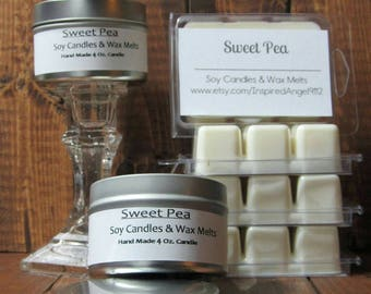 Sweet Pea Scented 4 oz. Tin Candle OR Wax Melts