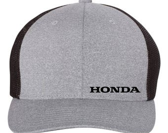HONDA Motor Trucker  Flex Fit Hat **ROUND Bill**  ***Free Shipping in BOX***