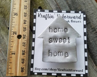 Home sweet home, hand stamped, refrigerator magnet, kitchen decor, gifts under 10