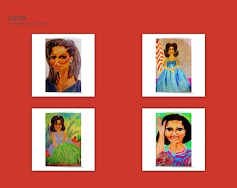 "FLOTUS Collection, Set of 4 Blank Note Cards printed on Fine Linen 5 x 7"" Paper w/Envelopes, from my original drawings - Free Shipping!"