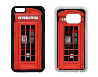 Rubber Case iPhone 6 6S 7 8 Plus, X SE 5S 5C 5 4S, Samsung Galaxy S8 Plus, S7 S6 Edge, British London red phone box booth bumper cover. R19