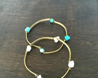 White howlite brass bangle bracelet