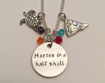 Heroes in a Half Shell Teenage Mutant Ninja Turtles Michelangelo Raphael Leonardo Donatello TMNT Inspired Hand Stamped Charm Necklace