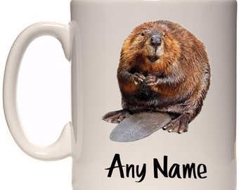 Beaver Mug Cup Meme Gift Present Can Be Personalised With Any Name Text Or Message Woodland Animal Cute