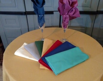 Cotton Twill Tablecloth in oval,rectangle,square,round in many sizes 20 colors Made in USA Custom Sizes too!