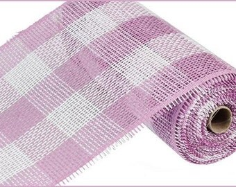 "10""X10yd Orchid/White Woven Check Paper Mesh/Wreath Supplies/Paper Mesh/RR800244"