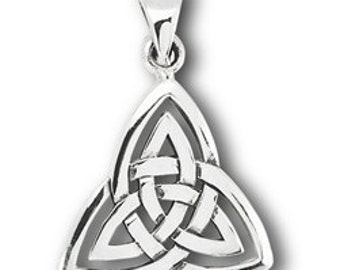 "Silver Double Triquetra Celtic Pendant on 18"" silver chain"