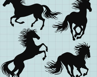 Horse Clipart, Horse silhouette Clipart, Horse Clip Art, Animal Silhouettes, Digital Clipart Images, Horse PNG Files, Instant Download