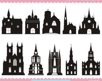 Church Silhouettes Clipart, Castle Silhouettes, Church Printable,  House clipart, Instant Download, Commercial Use, PNG Files