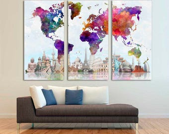 World map canvas etsy colorful travel world map canvas print 3 panel split triptych world landmarks gumiabroncs Gallery