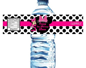 100% Waterproof 20 Minnie Mouse Personalized Water Bottle Labels