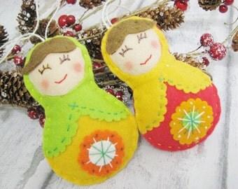 Felt Matryoshka Ornament, Russian Matryoshka Doll, Holiday felt Ornament. Nesting doll ornament, Felt hanging decoration