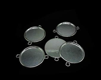 5 Silver connectors Support Cabochon Tray 30mm