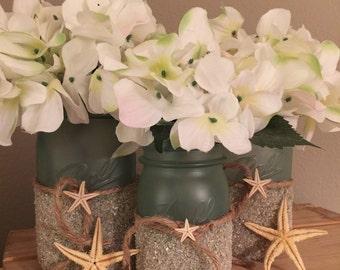 Seaglass Beach Centerpieces Mason Jar Coastal Wedding Centerpiece Themed Bridal Shower Decorations Bathroom Decor