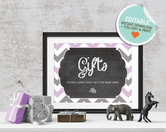 Elephant Baby Shower Table Signs, Purple, Gray, Chevron (Matches Chalkboard, Balloon) | Editable, Instant Download