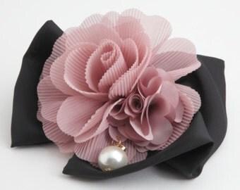 Pleat flower black bow french hair barrette elegant woman hair accessories free shipping