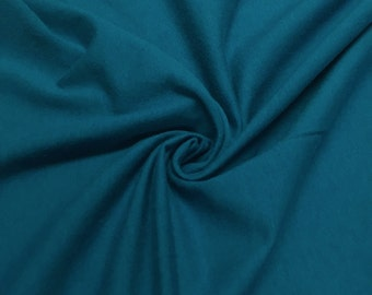 "Teal Cotton Jersey Lycra Spandex Knit Stretch Fabric 58/60"" wide All colors"