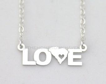 South Carolina Love Necklace, I heart South Carolina necklace, Love necklace