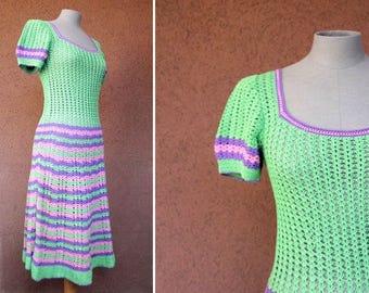 1970's Hand Crochet Summer Dress - 70's Green and Purple Summer Dress - Size S/M