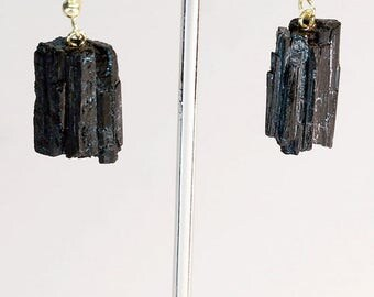 Rough Black Tourmaline Earrings w/ Gold Plated Earwire (ER13BT)