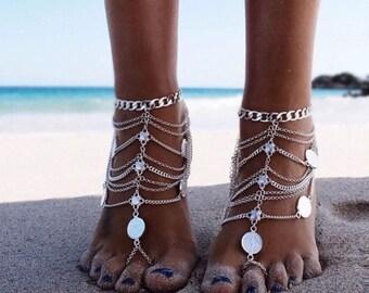 Barefoot sandals anklet beach wedding foot jewelry beach wear