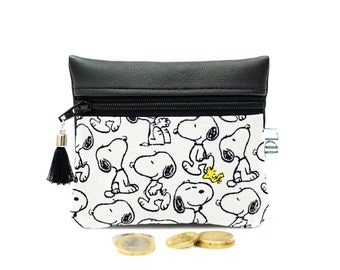 Snoopy coin purse, Peanuts mini wallet, Small change, Card holder, Zipper pouch, Vegan faux leather, Teacher gift, Earbud case, Key bag