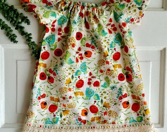 Baby dress- toddler dress- peasant dress- size 12-18 baby dress- fringe dress - boho baby clothes- special occasions - first birthday dress-