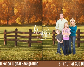 Outdoor Fall Nature Tree and Fence Digital Backdrop - Photography Background Portrait for Children or Adults - JPG Instant Download