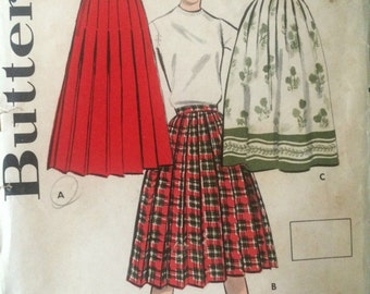 Vintage 1950's Pleated or Border Print Skirt Pattern---Butterick 8716