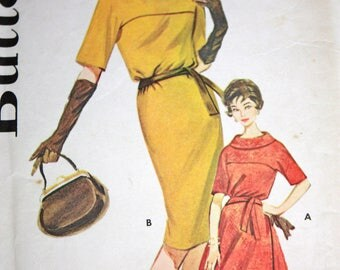Gorgeous Cowl Neck Dress Pattern With Flared or Slim Skirt---Butterick 9926---Size 12  Bust 32