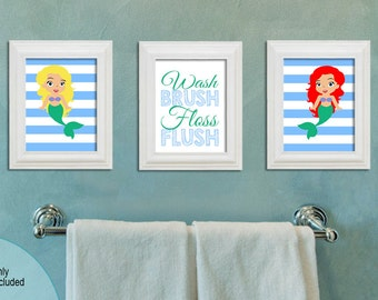 Mermaid Bathroom   Set Of Three 8x10 Printable   Wash Brush Floss Flush    Mermaids
