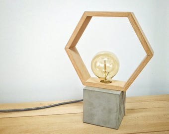 Modern concrete wood hexagon table lamp, Modern lamp, Geometric lamp, Concrete, hexagon lamp, Desk lamp, Concrete light, Table lamp CCMHN