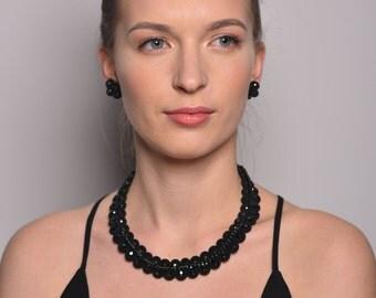 short soutache collar, bracelet, and clip on earrings set