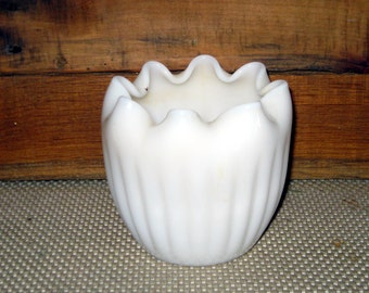 Vintage Milk Glass Bowl Milk Glass Dish with Ruffled or Curled top. Milk Glass Planter