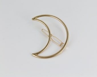 Moon outline shiny barrette hair clip lunar crescent moon Gold outline small barrette hair clamp moon phase