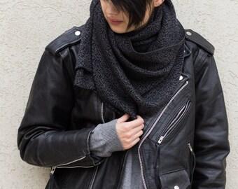 Black scarf, black knit scarf, dark grey scarf, knit scarf, scarves for women, unique scarves, women's scarves, fashion scarves, women scarf