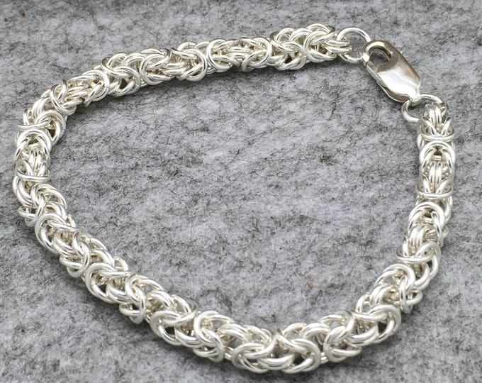 Sterling Silver Handcrafted Byzantine Chainmaille Bracelet, Hallmarked.